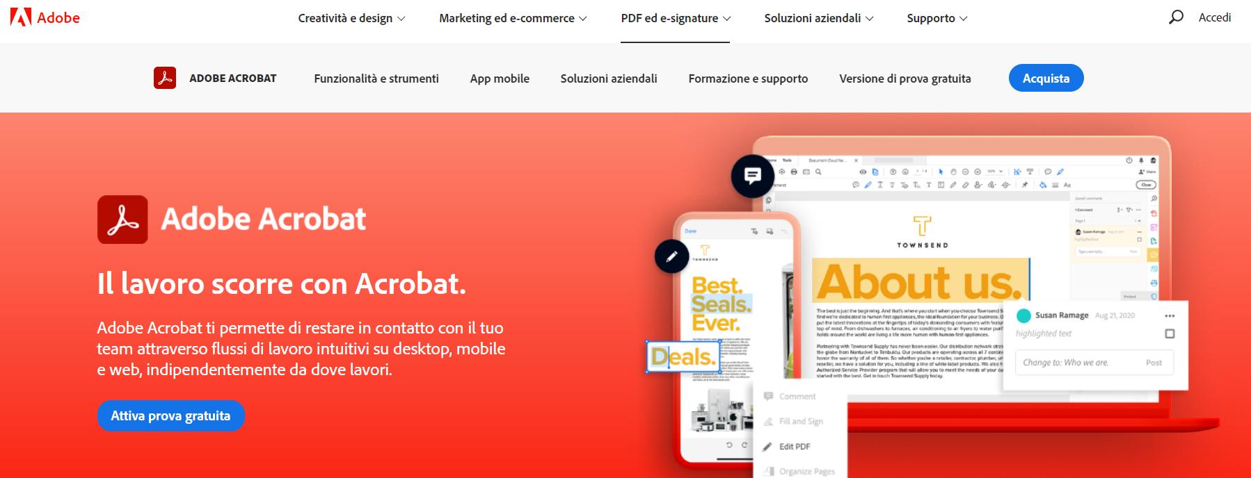 Adobe Acrobat home page